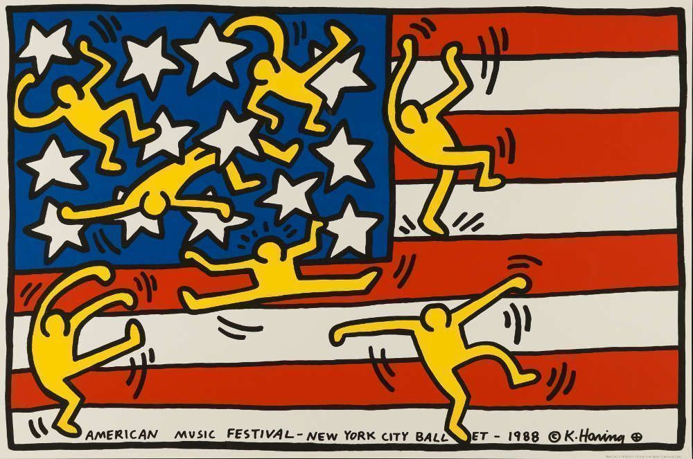 Keith Haring, American Music Festival – New York City Ballet, 1988, Siebdruck © Keith Haring Foundation