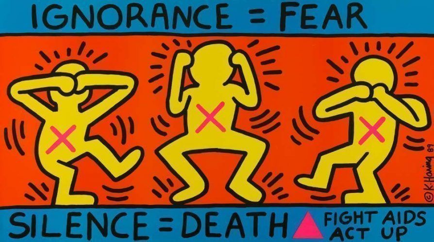 Keith Haring, Ignorance = Fear, Silence = Death, Fight Aids Act Up, New York, USA, 1989, Offsetlithografie, 61,1 x 109,5 cm © Keith Haring Foundation