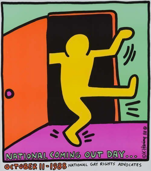"Keith Haring, National Coming Out Day, entstanden für die ""National Gay Rights Advocates"", New York, USA, 1988, Offsetlithografie, 66 x 58,4 cm © Keith Haring Foundation"