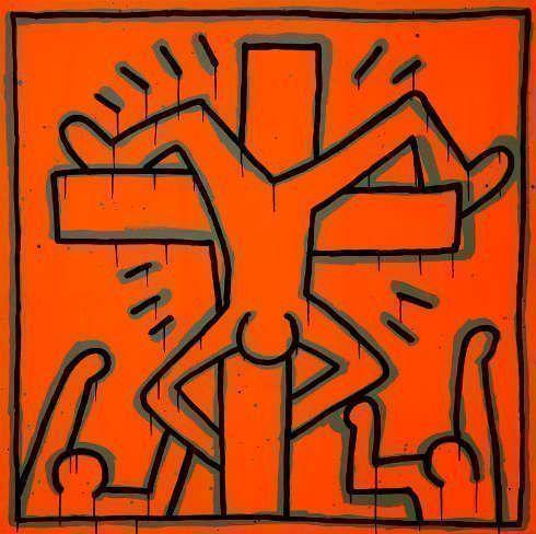 Keith Haring, Ohne Titel, 1984, Leuchtfarbe auf Musselin (Privatsammlung, New York © Keith Haring Foundation)