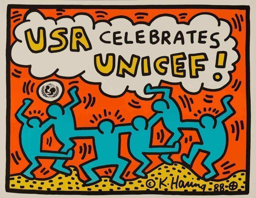 Keith Haring, USA celebrates UNICEF!, 1988, Offsetlithografie, 43,2 x 55,9 cm © Keith Haring Foundation