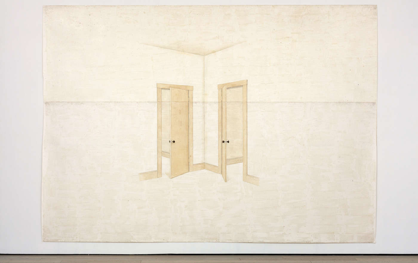 Toba Khedoori, Untitled (doors), 1999, Öl und Wachs auf Papier, 335,3 × 485,1 cm (Privatsammlung, Courtesy David Zwirner, New York / London, © Toba Khedoori, Courtesy Regen Projects, Los Angeles & David Zwirner, Foto: © Fredrik Nilsen)
