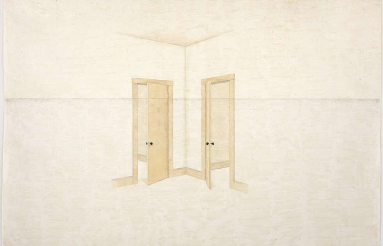 Toba Khedoori, Untitled (doors), Detail, 1999, Öl und Wachs auf Papier, 335,3 × 485,1 cm (Privatsammlung, Courtesy David Zwirner, New York / London, © Toba Khedoori, Courtesy Regen Projects, Los Angeles & David Zwirner, Foto: © Fredrik Nilsen)