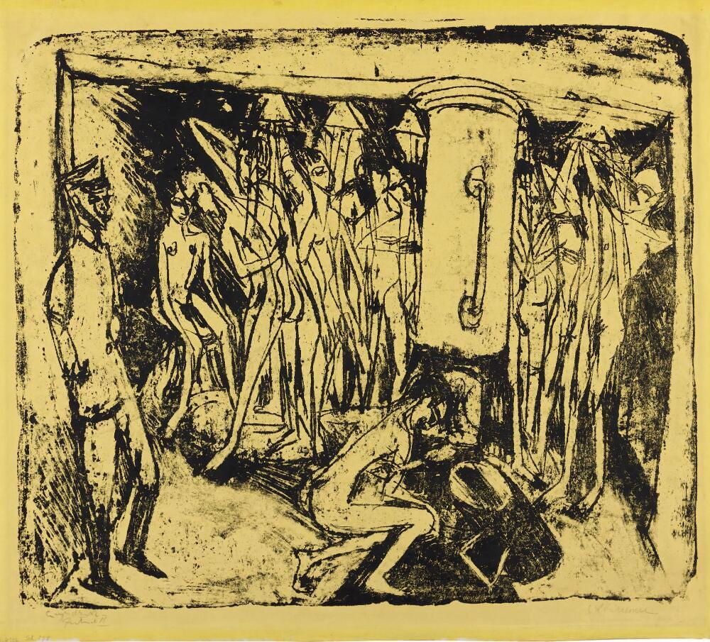 Ernst Ludwig Kirchner, Ernst Ludwig Kirchner, Artilleristenbad – Badende Soldaten, 1915, Lithografie auf gelbem Papier, 50,5 × 59,0/4 cm (Sammlung E.W.K., Bern/Davos)