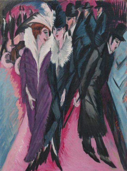 Ernst Ludwig Kirchner, Die Straße, 1913, Öl auf Leinwand, 120,5 × 91 cm (The Museum of Modern Art, New York, purchase, 1939, Foto © 2017 Digital image, The Museum of Modern Art/Scala Florence)