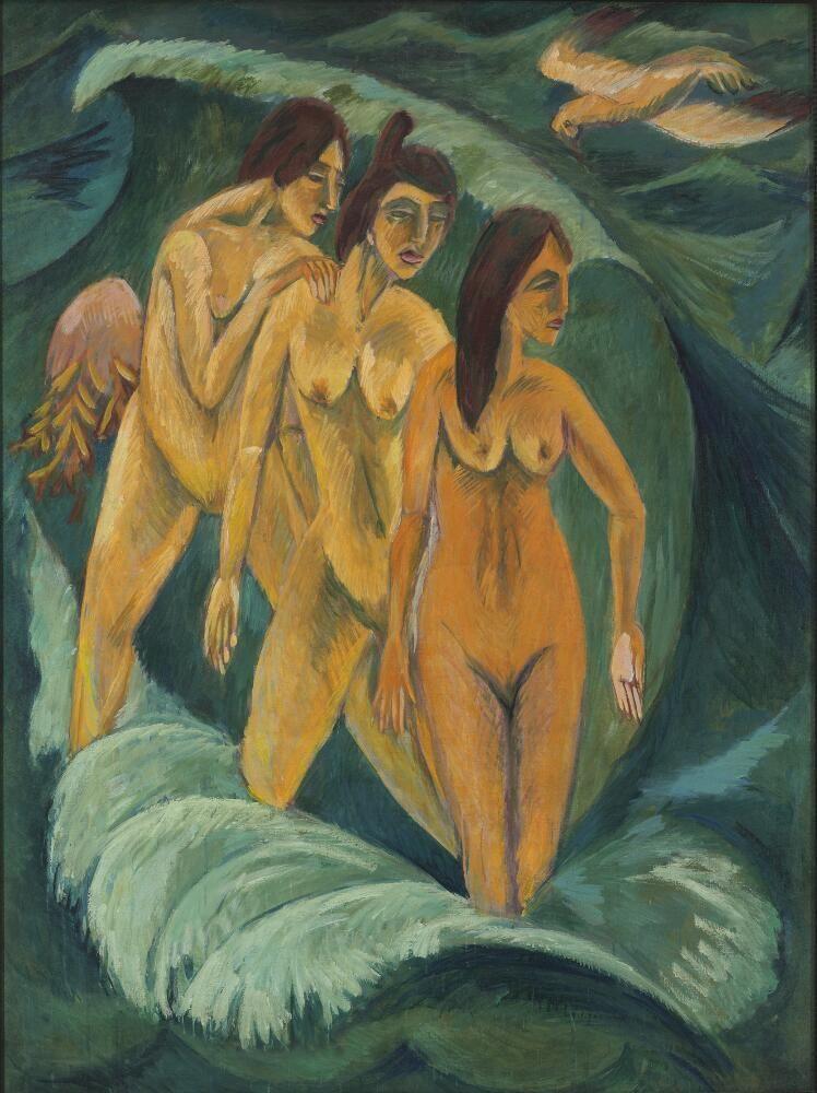 Ernst Ludwig Kirchner, Drei Badende, 1913, Öl auf Leinwand, 197,5 × 147,5 cm (Art Gallery of New South Wales, Sydney, Foundation Purchase 1984, Foto: AGNSW)