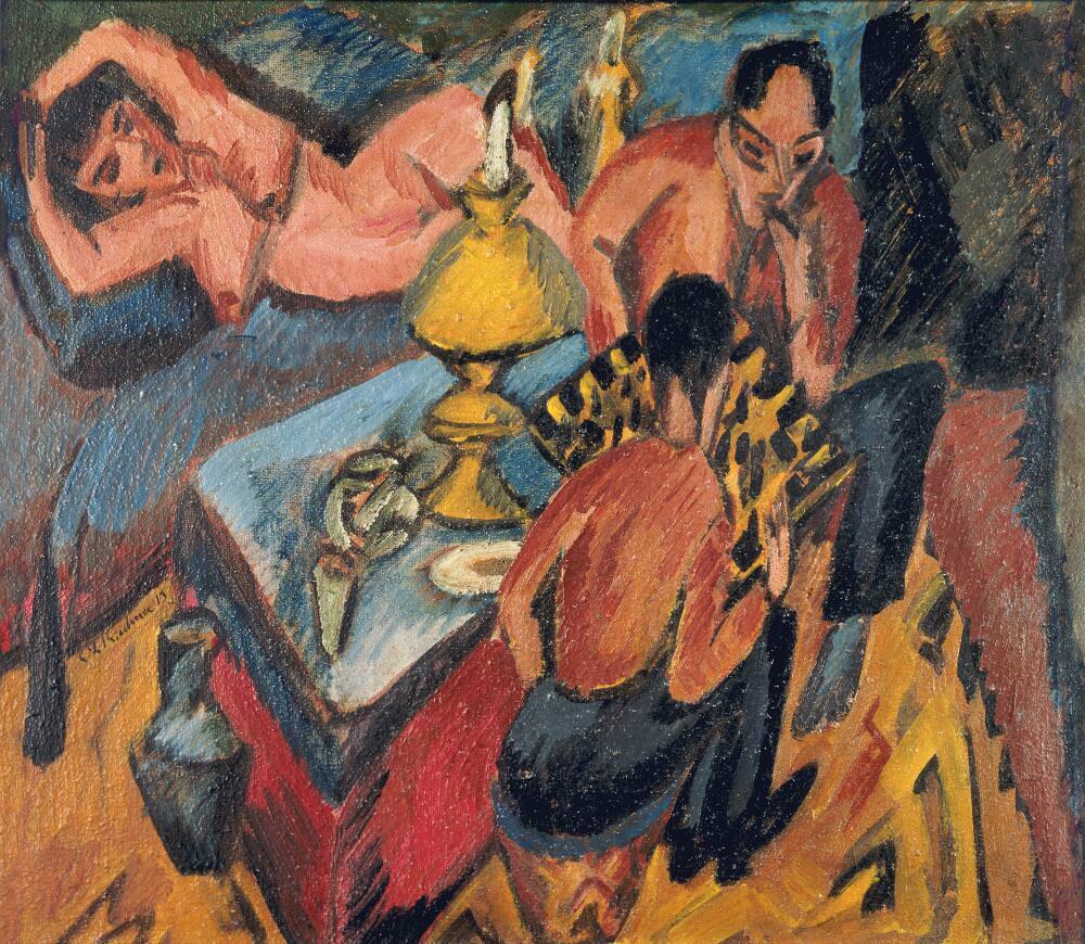 """Ernst Ludwig Kirchner, Erich Heckel und Otto Mueller beim Schach, 1913, Öl auf Leinwand, 35,5 × 40,5 cm (""""Brücke""""-Museum, Berlin)"""
