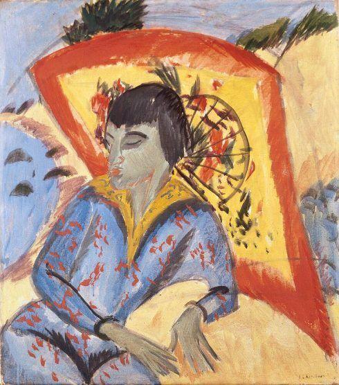 Ernst Ludwig Kirchner, Erna mit Japanschirm (Japanerin), 1913, Öl auf Leinwand, 80 × 70,5 cm (Aargauer Kunsthaus Aarau / Legat Dr. Othmar und Valerie Häuptli, Foto: Jörg Müller)