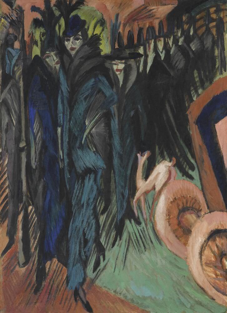 Ernst Ludwig Kirchner, Friedrichstrasse Berlin, 1914, Öl auf Leinwand, 125 x 91 cm (Staatsgalerie Stuttgart, Foto: bpk/Staatsgalerie Stuttgart)