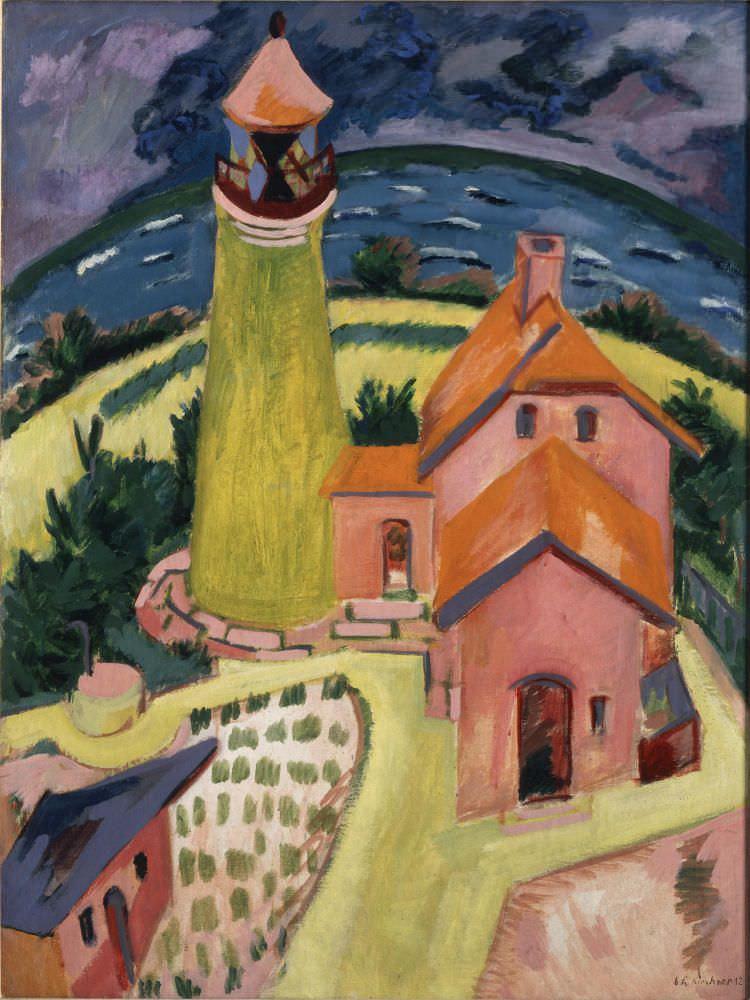 Ernst Ludwig Kirchner, Leuchtturm Staberhuk, Fehmarn, 1912, Öl auf Leinwand, 119,5 × 91 cm (Carnegie Museum of Art, Pittsburgh: Patrons Art Fund)