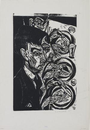 Ernst Ludwig Kirchner, Nervöse beim Diner (Sanatorium Kohnstamm), 1916, Holzschnitt auf Karton, 42 × 28 cm (Kassel, Museumslandschaft Hessen, Kassel, Graphische Sammlung, Städtischer Kunstbesitz)