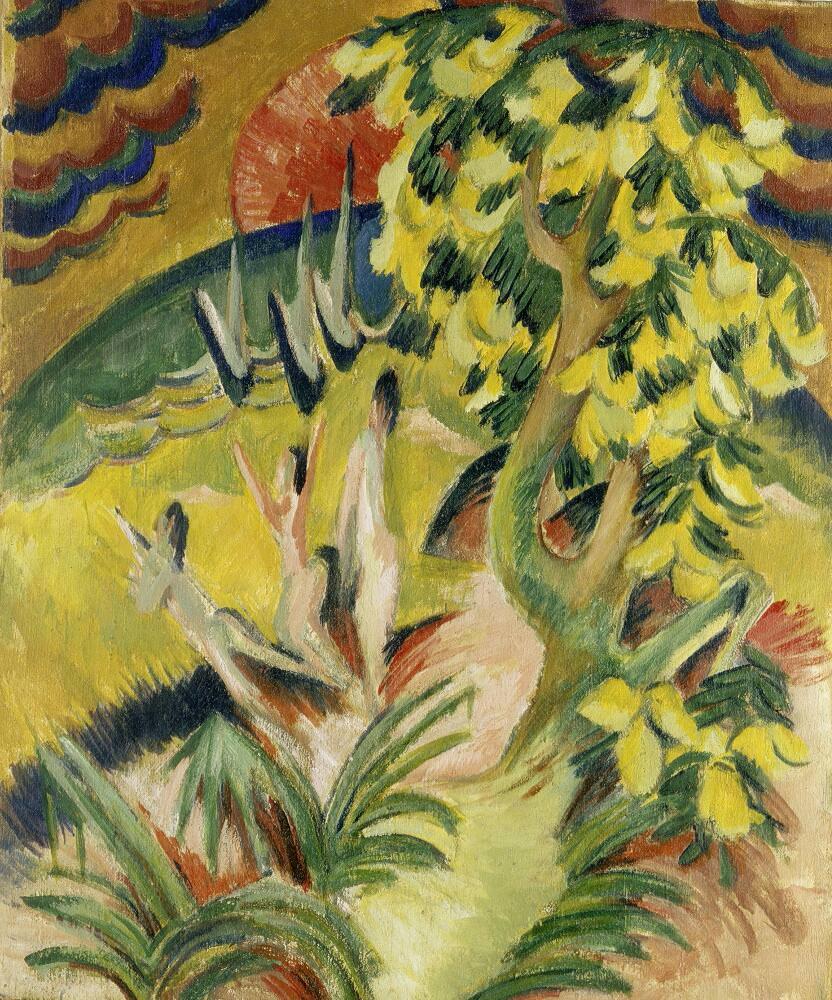 Ernst Ludwig Kirchner, Runde Bucht (Goldregenbaum), um 1914, Öl auf Leinwand, 146 × 123 cm (Museo Thyssen-Bornemisza, Madrid)