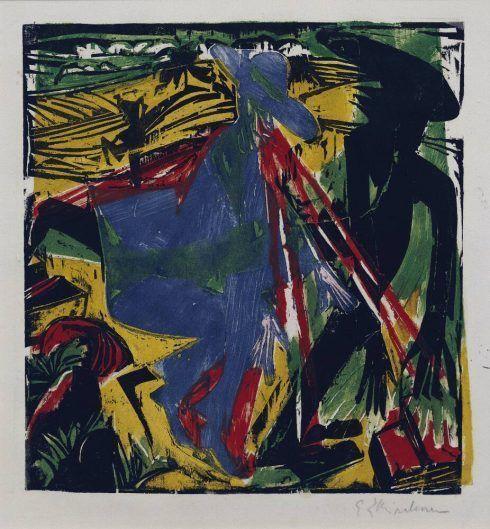 """Ernst Ludwig Kirchner, Schlemihls Begegnung mit dem Schatten (Bl. 6 aus dem Schlemihl-Zyklus), 1915, Farbholzschnitt auf Löschpapier, 30,5 × 29,3 cm (""""Brücke""""-Museum, Berlin, Karl und Emy Schmidt-Rottluff Stiftung)"""