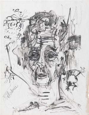 """Ernst Ludwig Kirchner, Selbstbildnis im Morphiumrausch, 1917, Rohrfeder, Tinte auf Kreidegrundpapier, 50 × 38 cm (""""Brücke""""-Museum, Berlin)"""