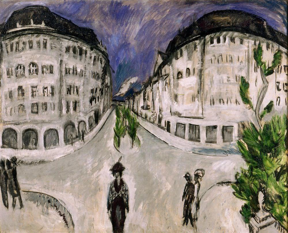 Ernst Ludwig Kirchner, Straße am Stadtpark Schöneberg, 1912/13, Öl auf Leinwand, 121 × 151 cm (Milwaukee Art Museum, Gift of Mrs. Harry Lynde Bradley, Foto: Larry Sanders)