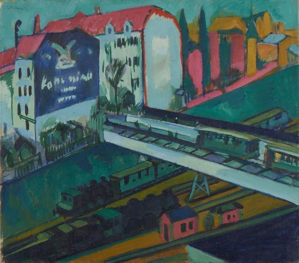 Ernst Ludwig Kirchner, Straßenbahn und Eisenbahn, 1914, Öl auf Leinwand, 71 x 81 cm (Die Lübecker Museen, Museum Behnhaus Drägerhaus)