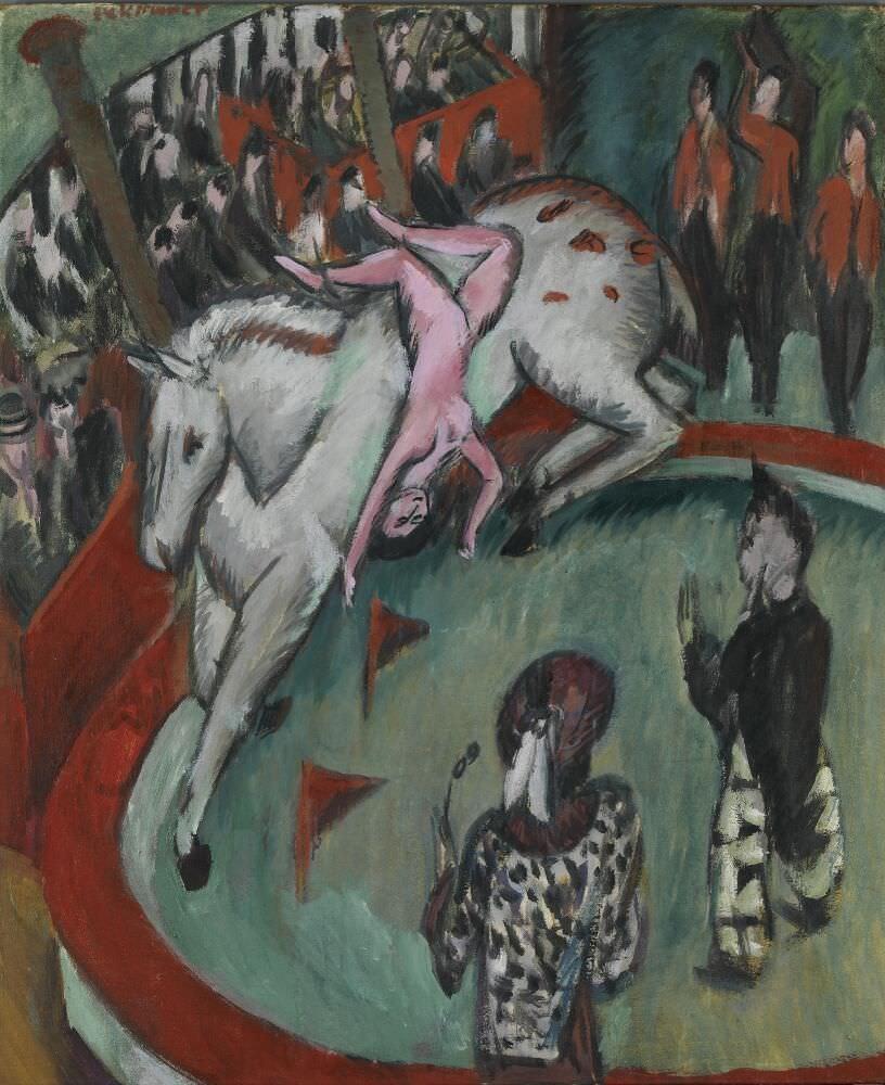 Ernst Ludwig Kirchner, Zirkus, 1913, Öl auf Leinwand, 120 × 100 cm (Bayerische Staatsgemäldesammlungen, München, Pinakothek der Moderne)