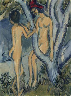 Ernst Ludwig Kirchner, Zwei Akte an einem Baum, Fehmarn, 1912/13, Öl auf Leinwand, 100 x 75 cm (Privatsammlung)