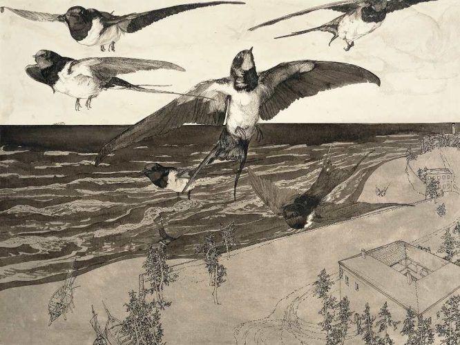 Klemens Brosch, Am Strande, 1913, Feder in Tusche, laviert, 34,5 x 41 cm (Oberösterreichisches Landesmuseum Inv. Nr. Ha II 1445)