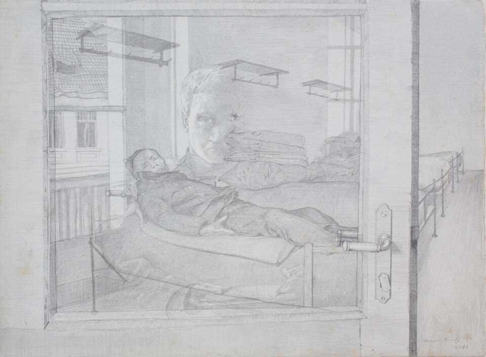 Klemens Brosch, Blick durch die Glastüre, 1913 (1915?), Bleistift, 25 x 34 cm (NORDICO Stadtmuseum Linz Inv. Nr. 1280)