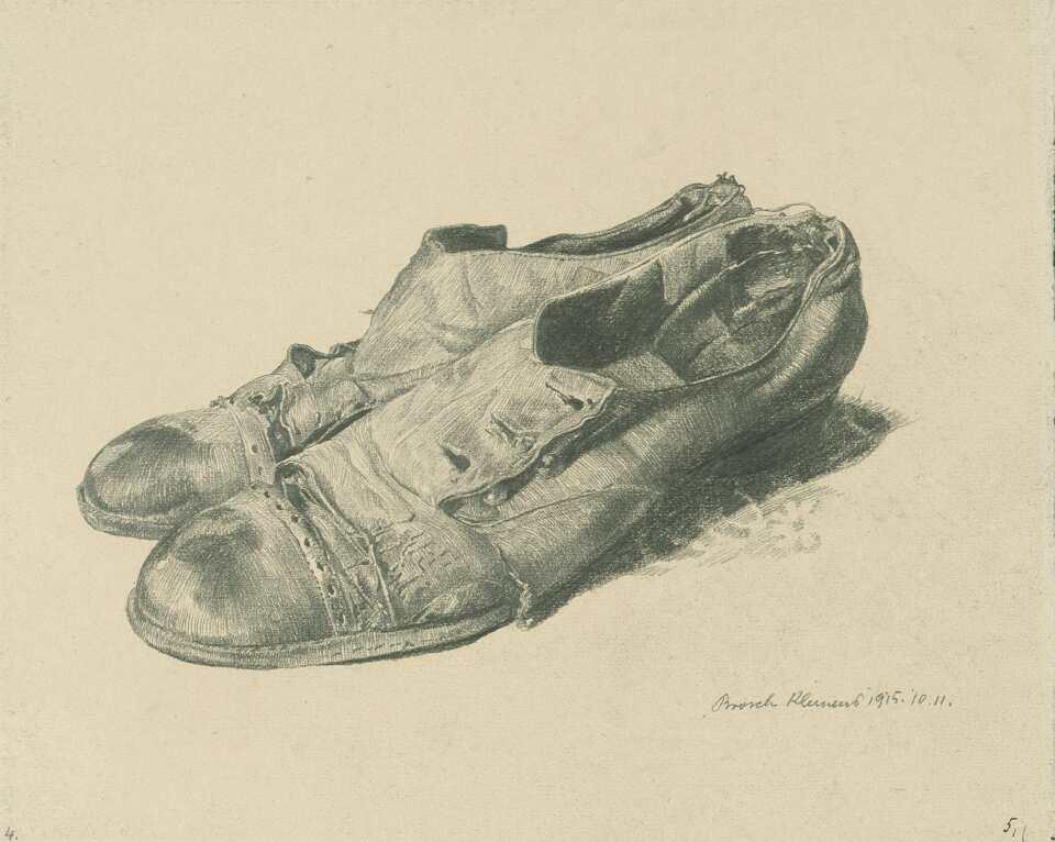 Klemens Brosch, Der Invaliden Dank (48 Studienblätter in einer Ledermappe), 9.–18.11.1915, Bleistift, je 17,2 x 21,5 cm (Oberösterreichisches Landesmuseum Inv. Nr. Ha M 1362)