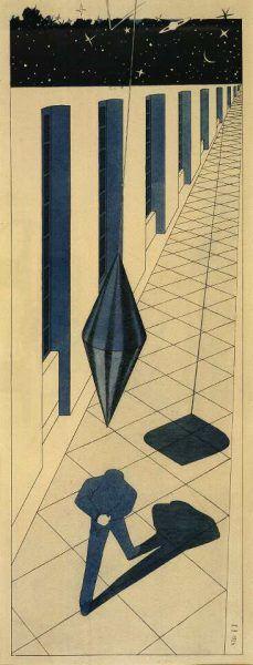 Klemens Brosch, Der Irrsinnige, 1926, Feder in Tusche, aquarelliert, 49 x 18 cm (Oberösterreichisches Landesmuseum Inv. Nr. Ha III 3073)