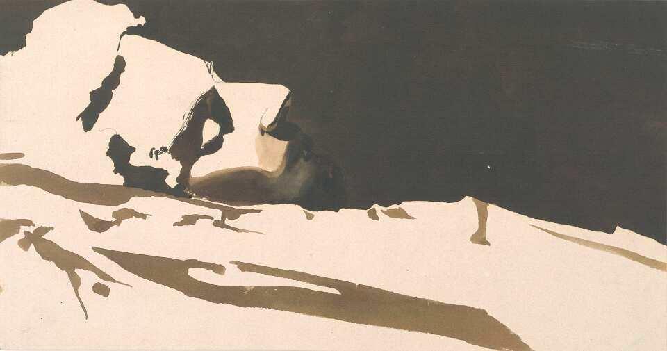 Klemens Brosch, Der Schlummernde, um 1920, Pinsel in dunkler Tinte, laviert, 15,6 x 29,5 cm (Oberösterreichisches Landesmuseum Inv. Nr. Ha II 128)