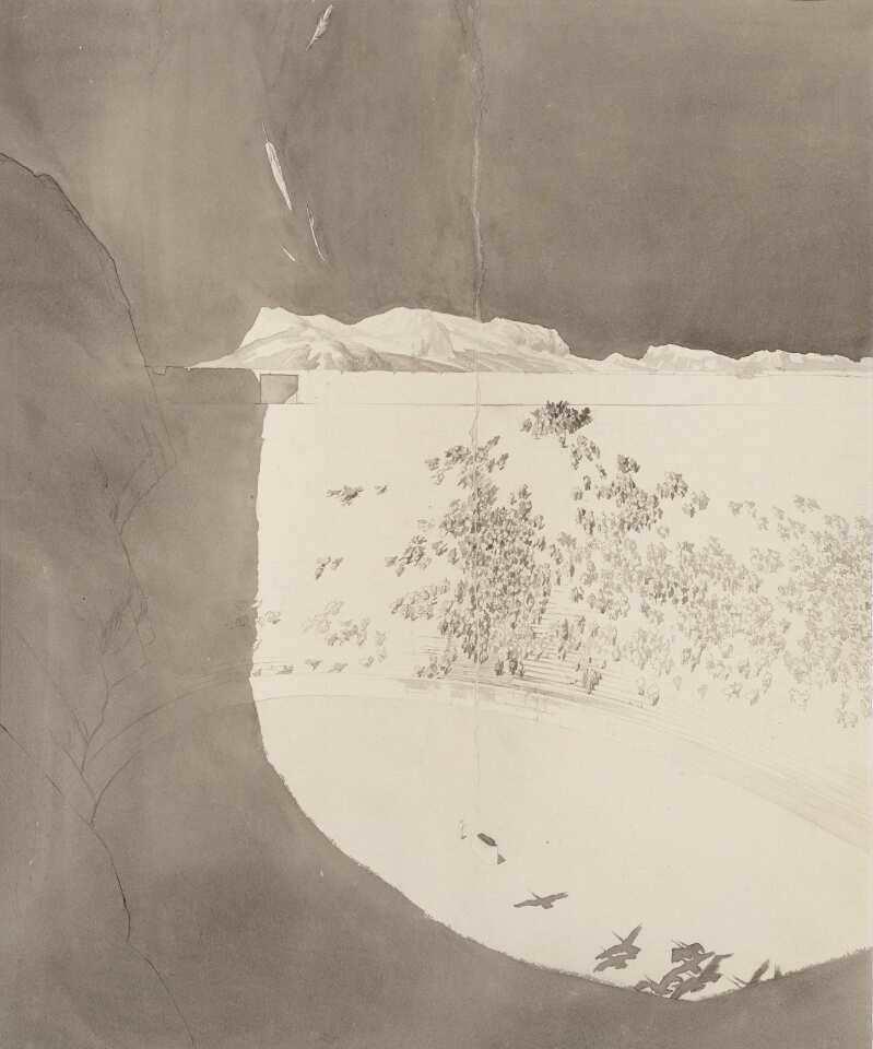 Klemens Brosch, Die Kraniche des Ibykus, 1920, Feder und Pinsel in Tusche, laviert, 41,7 x 34,5 cm (NORDICO Stadtmuseum Linz Inv. Nr. 127)