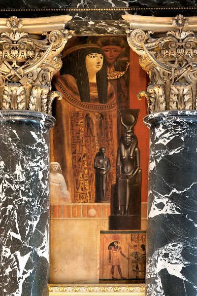 Klimt, Ägyptische Kunst (Sarkophag und Isis), Kunsthistorisches Museum, Stiegenhaus