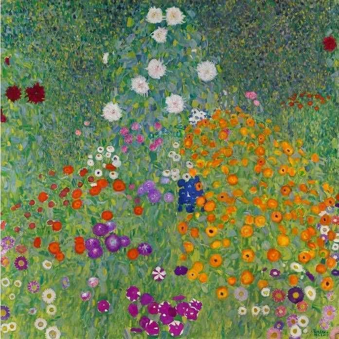 Klimt, Bauerngarten, 1907, Öl auf Leinwand, 110 x 110 cm (Privatsammlung)
