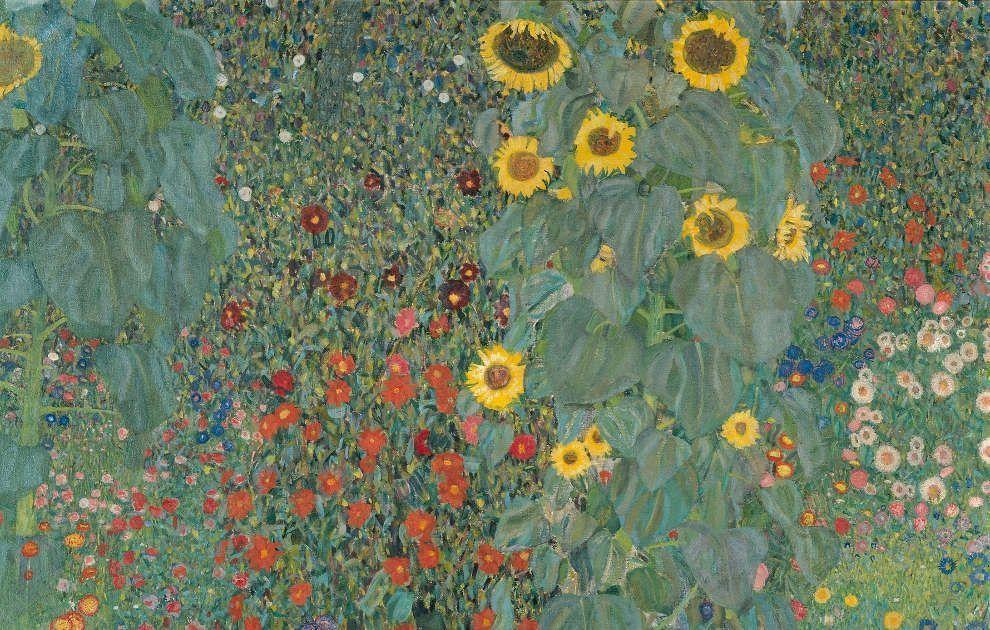 Gustav Klimt, Bauerngarten mit Sonnenblumen [Brauhausgarten in Litzlberg am Attersee], Detail, 1907, Öl/Lw, 110 x 110 cm (Belvedere, Wien, Inv.-Nr. 3685)