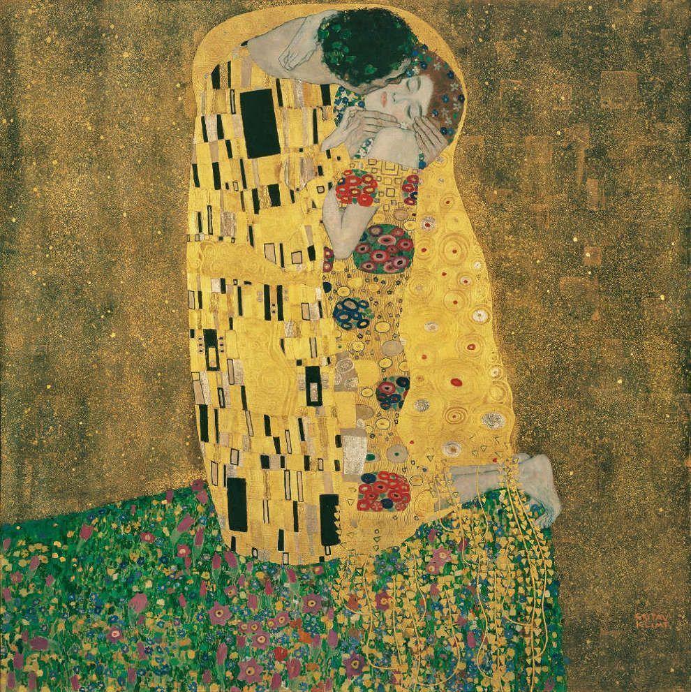 Gustav Klimt, Der Kuss, 1907/08, Öl/Lw, 180 x 180 cm, bez. re. u. GUSTAV / KLIMT (Belvedere, Wien, Inv.-Nr. 912)