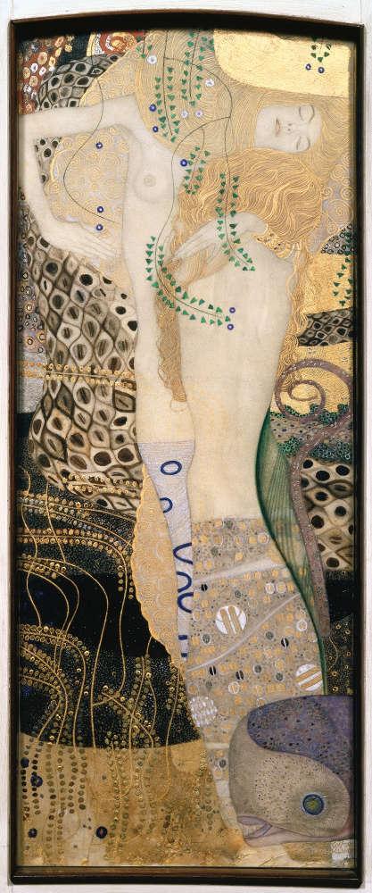 Gustav Klimt, Freundinnen (Wasserschlangen I), 1905/06, mit letzten Überarbeitungen 1907, Bleistift auf Pergament mit Aquarell- und Deckfarben, mit Silber- und Goldbronze und Goldauflagen gehöht, 50 × 20 cm (Belvedere, Wien, © Belvedere, Wien)