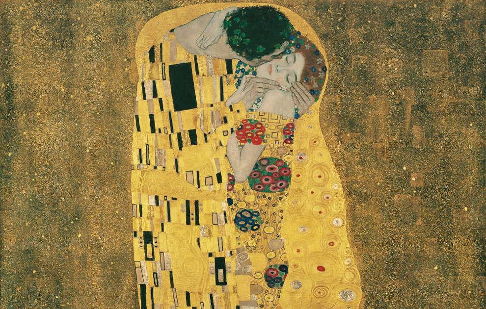 Klimt, Kuss, Detail, 1907/08, Öl/Lw (Belvedere)