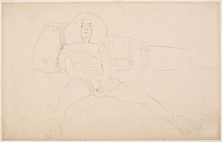 Gustav Klimt, Sitzender weiblicher Halbakt, 1904 (Leopold Museum, Wien, Reproduziert in: Die Hetärengespräche des Lukian)