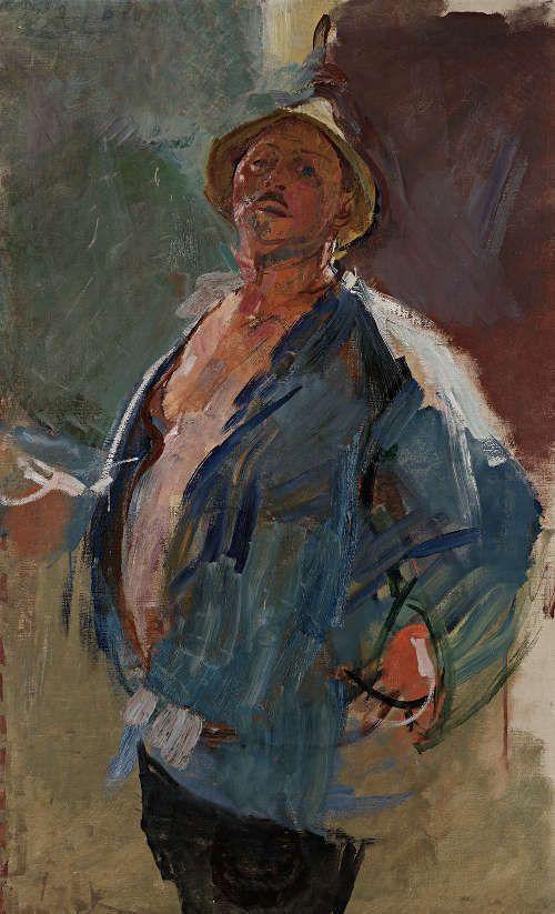 Anton Kolig, Selbstbildnis mit blauer Jacke, 1927, Öl auf Leinwand, 126,9 x 78,8 cm (Leopold Museum, Wien)