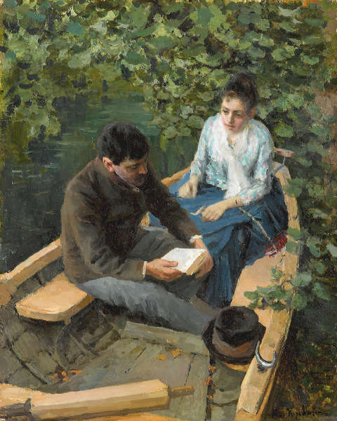Konstantin Korowin, In einem Boot, 1888, Öl/Lw, 53.5 х 42.5 cm (Tretjakow-Galerie, Moskau)
