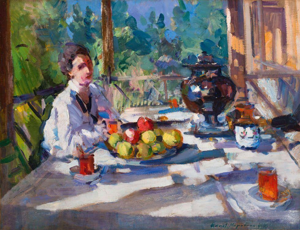 Konstantin Korowin, Auf der Terrasse beim Tee, 1916, Öl/Lw, 67 x 87 cm (ABA Gallery, New York)