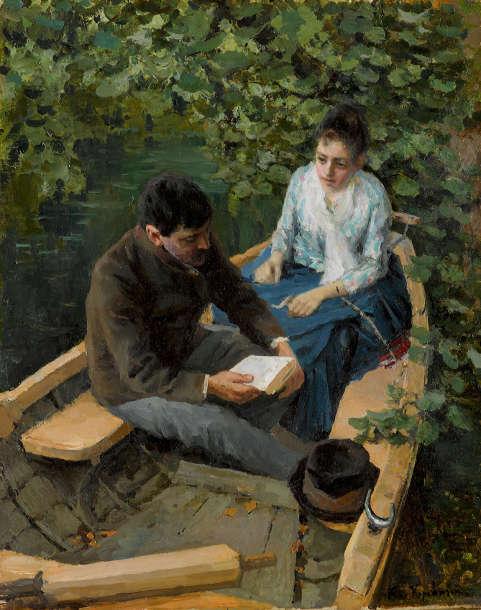 Konstantin Korowin, In einem Boot, Umgebung von Moskau 1888, Öl/Lw, 53.5 × 42.5 cm, Sammlung Mikhaïl Morosow, 1903 (Staatliche Tretjakow Galerie, Moskau)