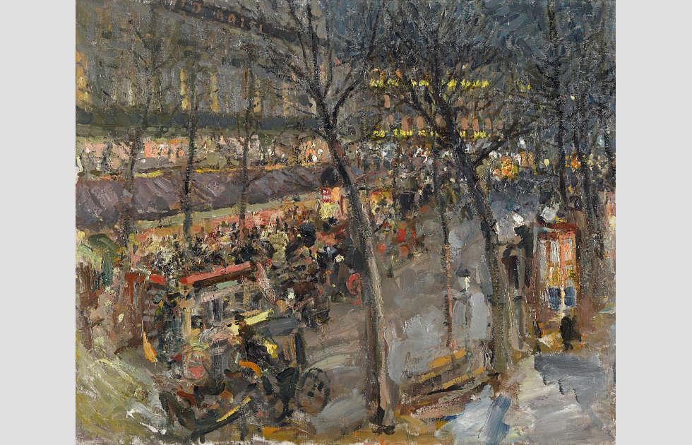 Konstantin Korowin, Paris. Café de la Paix, 1906, Öl auf Leinwand, 60,3 x 73,5 cm (Staatliche Tretjakow-Galerie, Moskau)