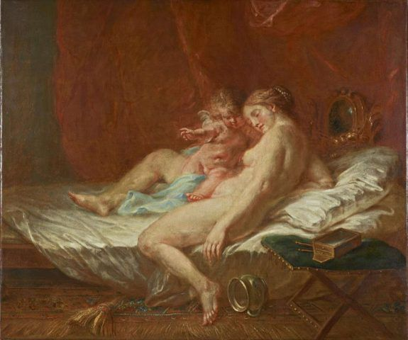 Martin Johann Schmidt, Kremser Schmidt, Venus mit Amor, 1788 dat, Öl/Lw, 92 x 110 cm (Belvedere, Inv.-Nr. 3153)