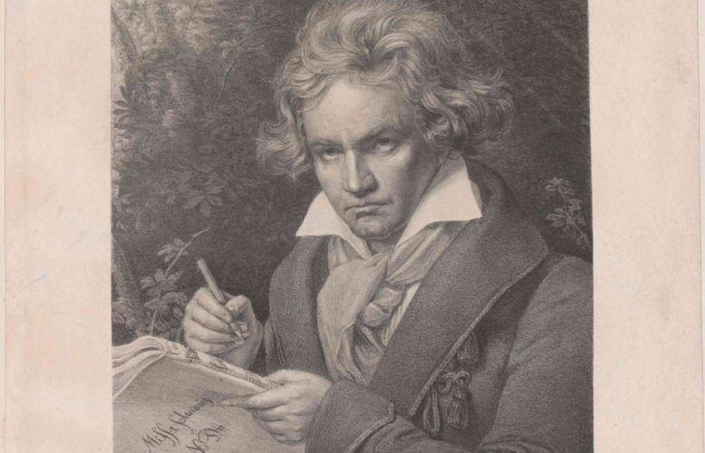 Beethoven an der Missa solemnis schreibend, Detail, Lithografie von Josef Kriehuber nach einem Gemälde von Josef Karl Stieler. © Österreichische Nationalbibliothek
