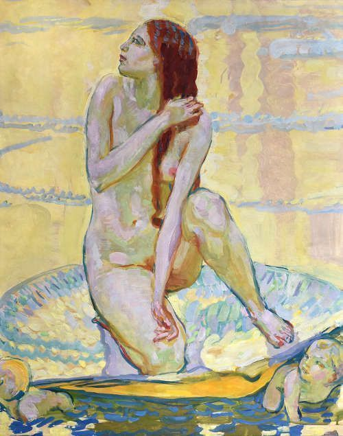 Erich Kuithan, Schaumgeborene I, um 1912, Öl auf Papier auf Pappe aufgezogen, 78,6 x 62,4 cm (Kunstsammlung Jena, Inv. Nr. I 451 © Foto: Kunstsammlung Jena)