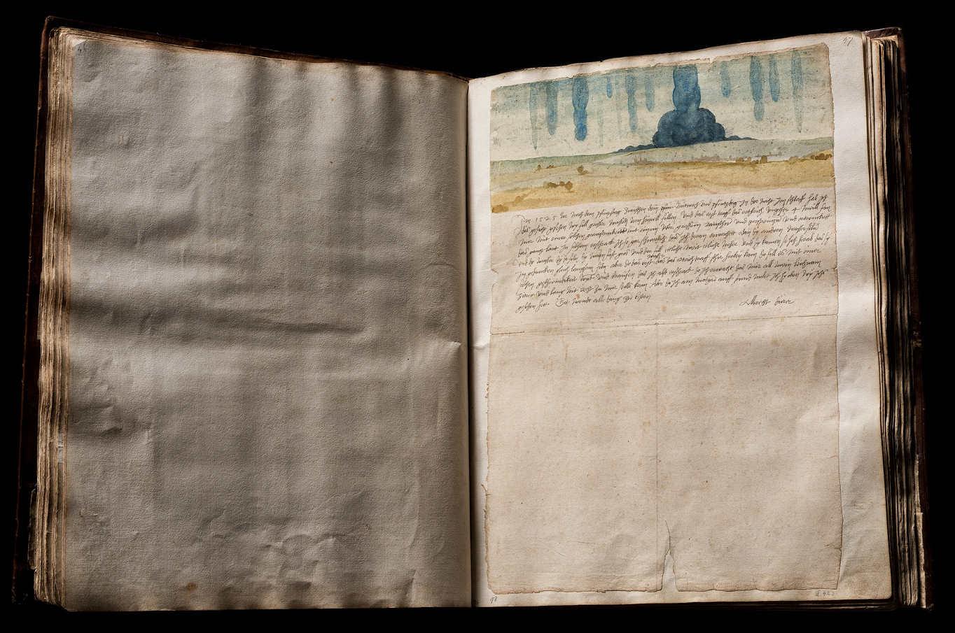 Kunstbuch Albrecht Dürers, Albrecht Dürer, Traumgesicht, 1525, Aquarell, bezeichnet und signiert, 22,2 × 30,1 cm (Kunsthistorisches Museum, Kunstkammer © KHM-Museumsverband)