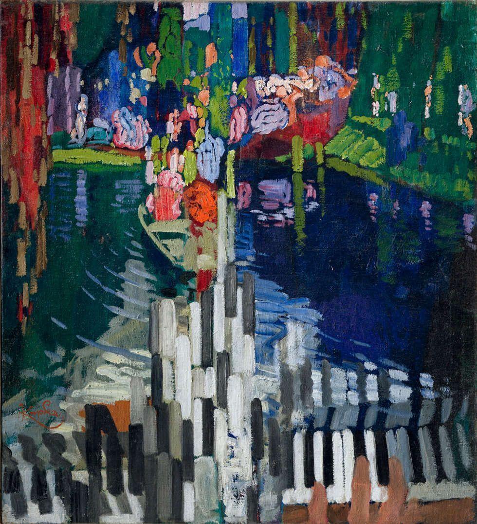 František Kupka, Les Touches de piano. Le Lac, 1909, Öl/Lw, 79 x 72 cm (Národní galerie v Praze, National Gallery, Prag, don, 1946, © Adagp, Paris 2018 © National Gallery in Prague 2018)