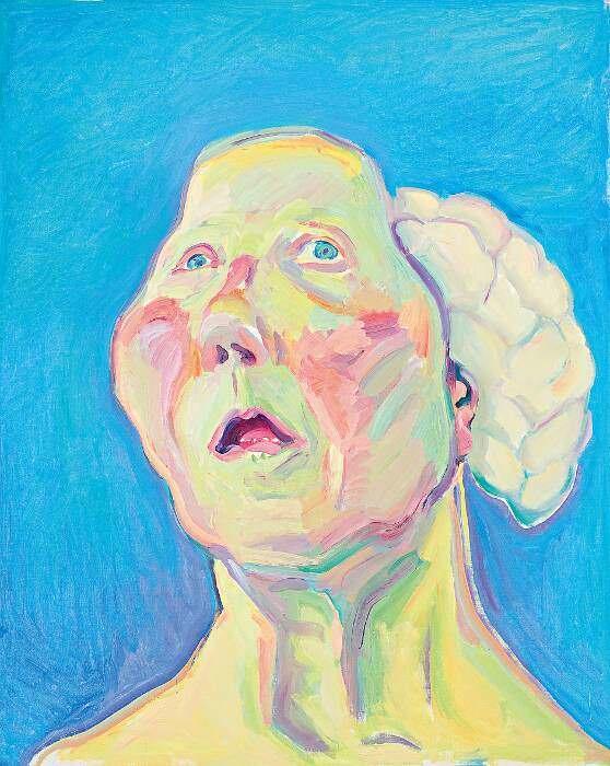 Maria Lassnig, Dame mit Hirn, um 1990, Öl auf Leinwand, 125 x 100 cm (Maria Lassnig Stiftung © Maria Lassnig Stiftung)