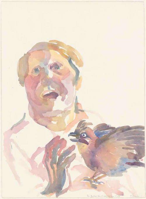Maria Lassnig, Das Geschrei des Eichelhähers, 1982 (Albertina, Wien © 2016 Maria Lassnig Stiftung)