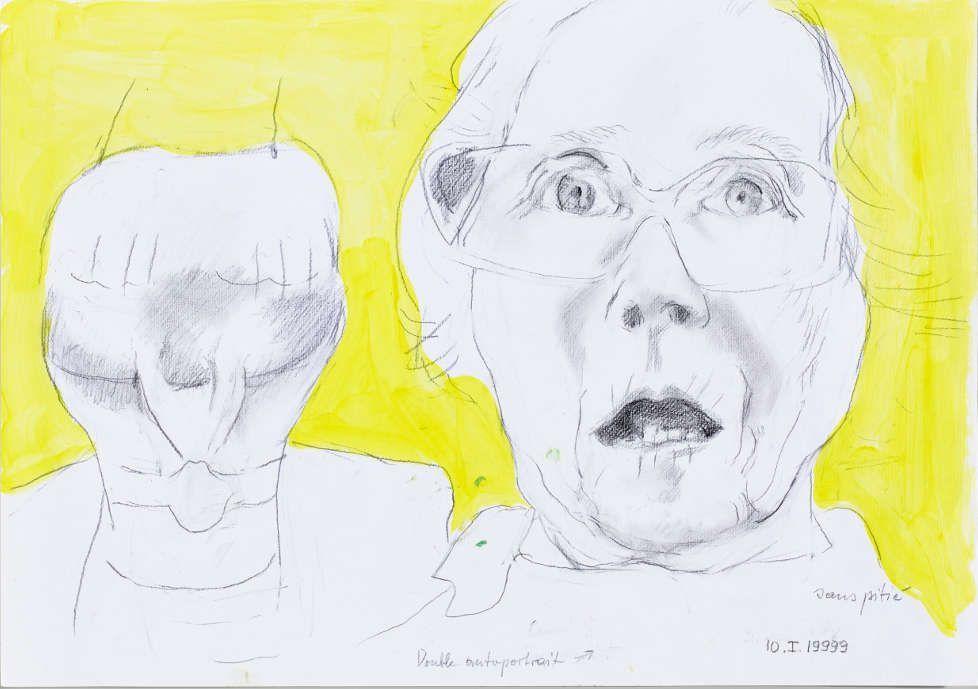 Maria Lassnig, Double autoportrait sans pitié, 1999, Bleistift, Acryl, 42.9 x 60.9 cm (© Maria Lassnig Stiftung)