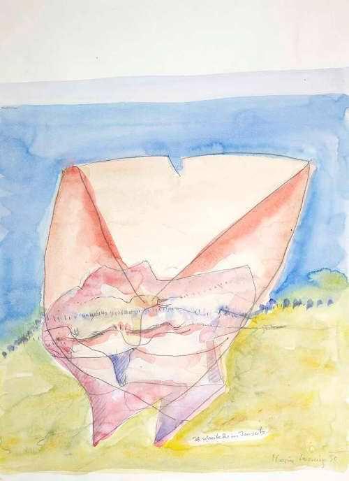 Maria Lassnig. Ich schreibe Dir ins Jenseits, 1990 (Albertina, Wien © 2017 Maria Lassnig Stiftung)