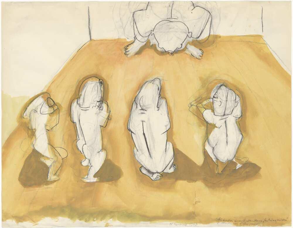 """Maria Lassnig, Illustration eines Gedankens – """"Les Antagonistes"""", 1963 (Albertina - Dauerleihgabe der Österreichischen Nationalbank © 2016 Maria Lassnig Stiftung)"""